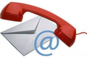 Bild på en telefon, ett kuvert och ett @: olika sätt att kontakta oss