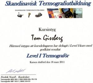 Bild på kursintyg utfärdat på Tom Gissberg - T-konsult